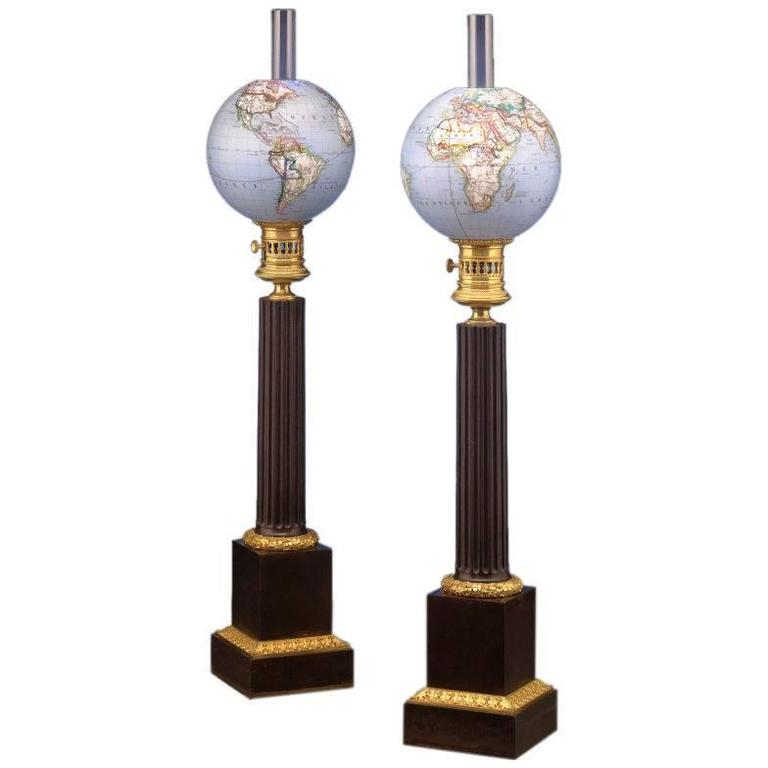 french opaline globe oil lamps for sale at 1stdibs. Black Bedroom Furniture Sets. Home Design Ideas
