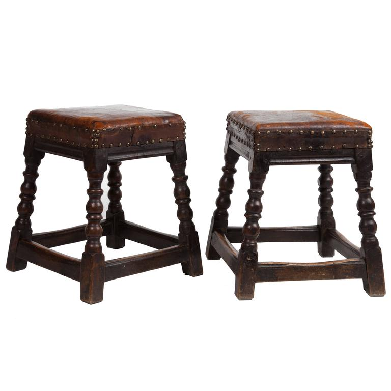 Pair of 19th Century English Oak Stools For Sale