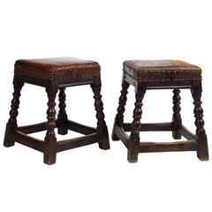 Pair of 19th Century English Oak Stools