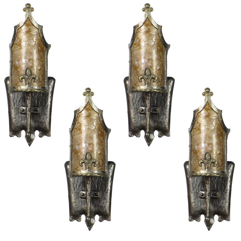 Wall Sconces En Espanol : Set of Four Spanish Revival Sconces with Original Mica Shades at 1stdibs