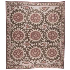 Vintage Samarkand Suzani, Backed with Heavy Cotton and Could Be Used as a Rug