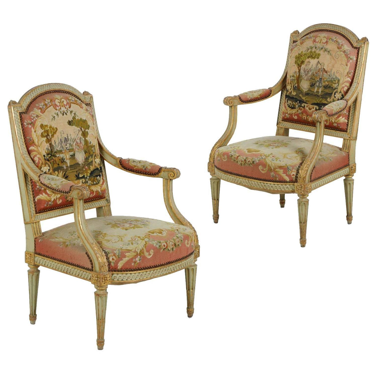 Antique Tapestry Sofa: Pair Of French Louis XVI Green Painted Antique Fauteuils