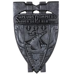 Large Cast Iron Firemen's Plaque with the Seal of the City of Paris, circa 1900