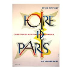"French Mid-Century ""Paris Fair"" Poster by A. M. Cassandre, 1957"
