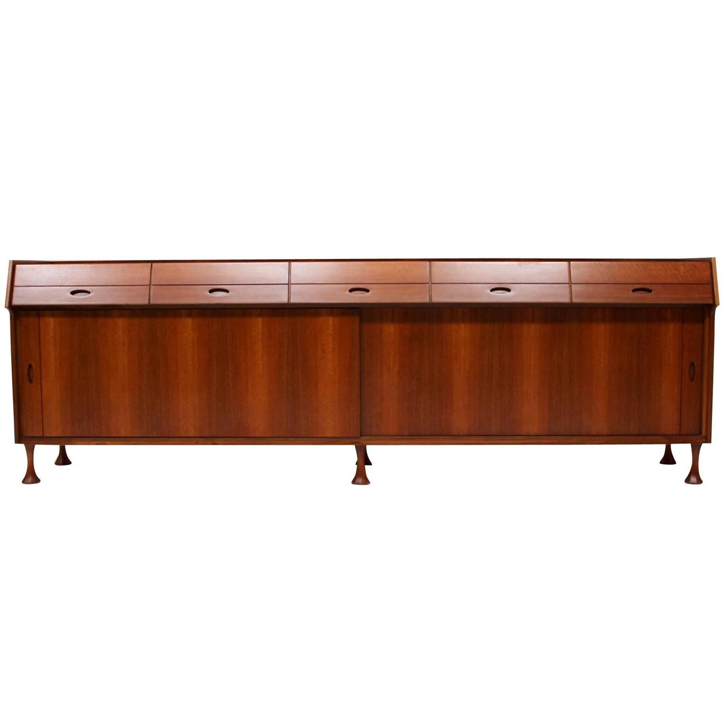 Mid Century Modern Long Sideboard Dresser Credenza Buffet At 1stdibs. Full resolution  portrait, nominally Width 1500 Height 1499 pixels, portrait with #3D1507.