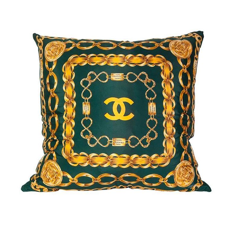 Chanel Silk Scarf Pillow with Velvet Backing at 1stdibs