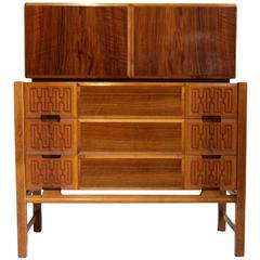 Edmund J. Spence Mid Century Modern Two-Piece Cabinet Chest