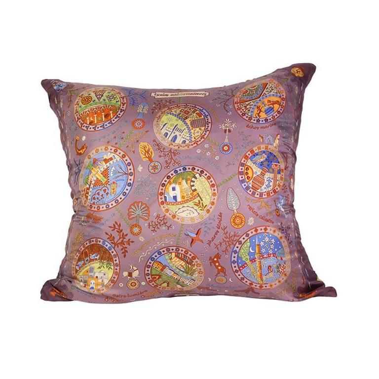 Hermès 'Escales Mediterrannes' Silk Scarf Pillow with Cashmere Backing