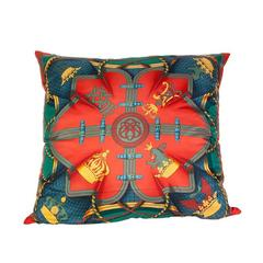 Hermès 'Grande Tenue' Silk Pillow with Velvet Backing