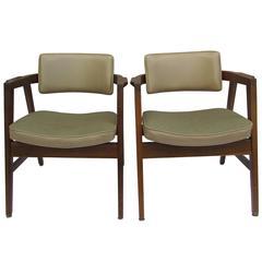 Pair of Walnut Armchairs by Gunlocke