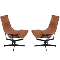 Pair of Swivelling Sling Chairs by William Katavolos