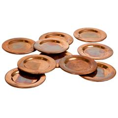 Collection of Ten Solid Copper Dessert Plates