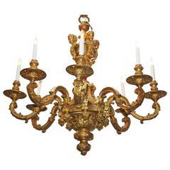 Régence Style Gilt Bronze Eight-Arm Chandelier