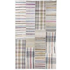 Large Cotton Kilim, Flat-Woven Rag Rug