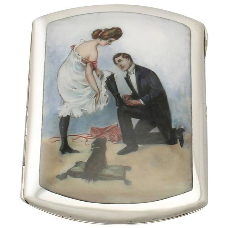 German Silver and Erotica Enamel Cigarette Case - Antique Circa 1920