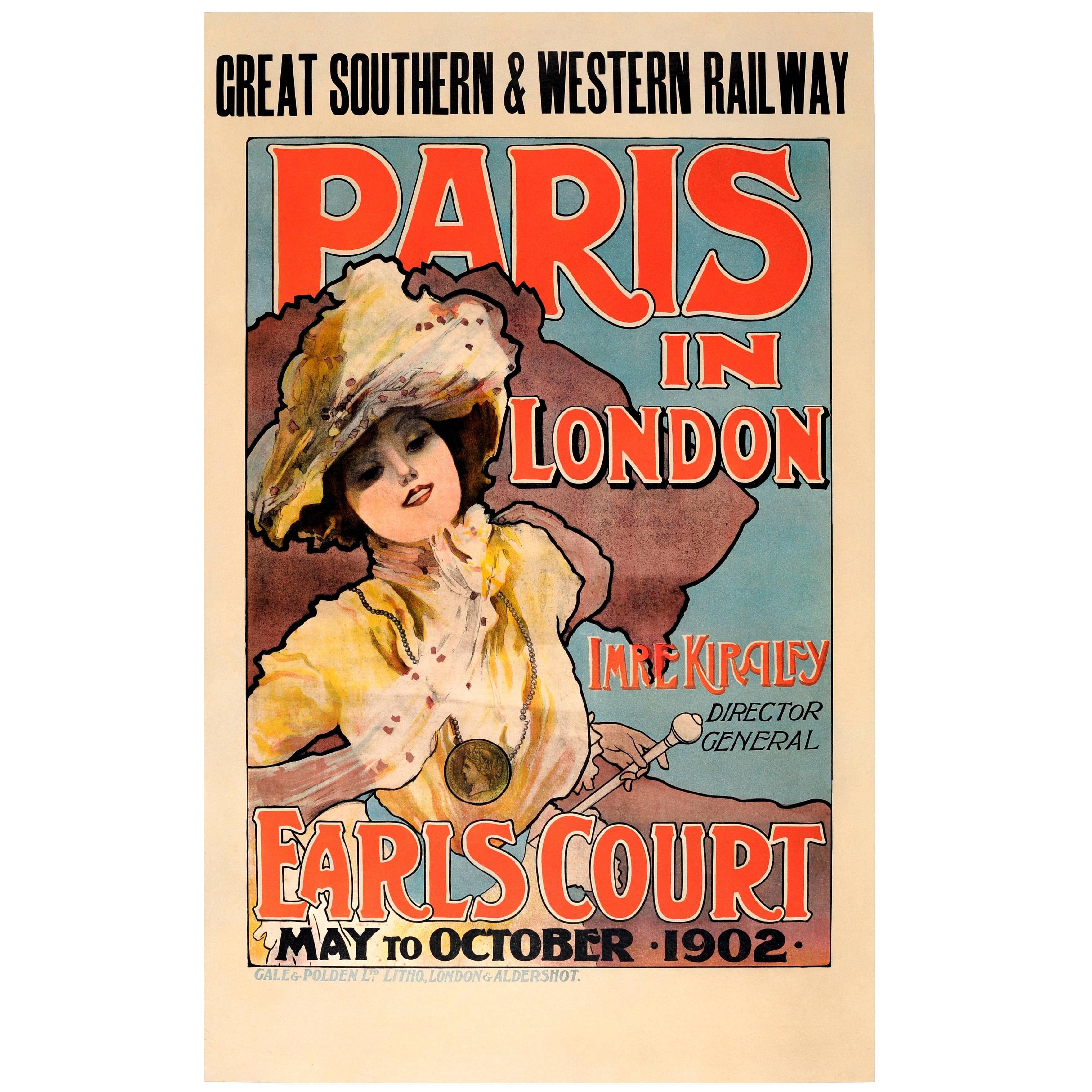 Original Antique Art Nouveau Poster GSWRailway Paris In London 1902 Imre Kiralfy