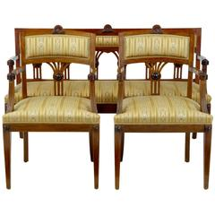 Early 20th Century Three-Piece Mahogany Salon Suite Sofa and Armchairs