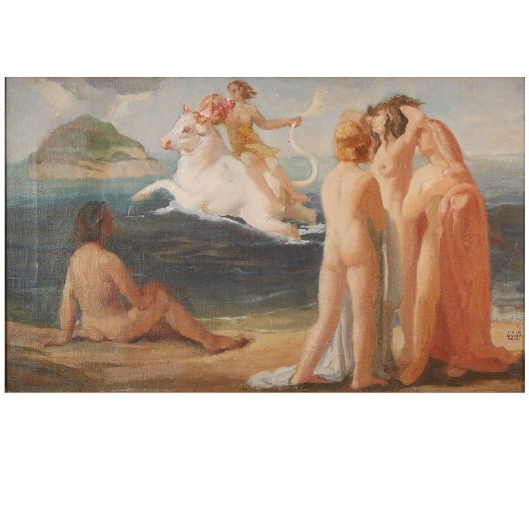 """""""Europa Spirited off to Crete,"""" Important Art Deco Mural Study by Giovannozzi For Sale"""