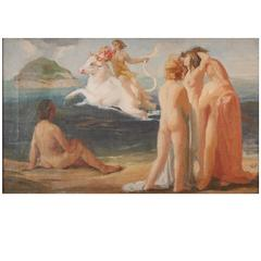 """Europa Spirited off to Crete,"" Important Art Deco Mural Study by Giovannozzi"