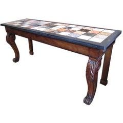 Regency Mahogany and Marble Specimen Console Table