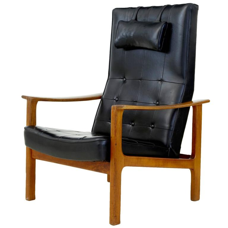 1960s Scandinavian Modern Teak Reclining Leather Armchair For Sale