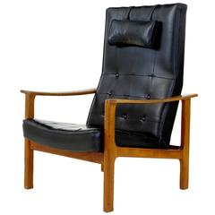 1960s Scandinavian Modern Teak Reclining Leather Armchair