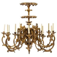 Exceptional Pair of 19th Century English Giltwood Twelve-Light Chandeliers
