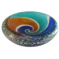Handblown Murano Glass Bowl with Color Swirl and Bubble Inclusions