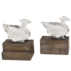 1930s Glass Bird Bookends, Pair