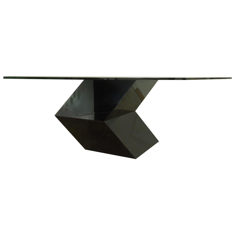 1970s Tzoid Modern Plexiglass Dining Table With Diamond Glass Top At 1stdibs