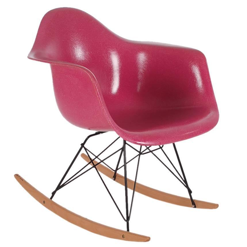 Charles Eames for Herman Miller Pink Fiberglass Lounge Rocking Chair Rar at 1