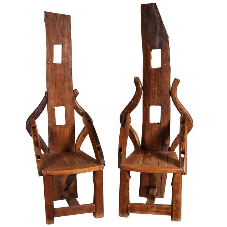 Pair Of Reclaimed Wood Tall Back Armchairs For Sale
