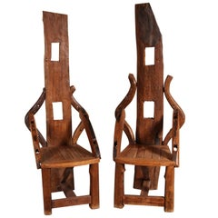 Pair of Reclaimed Wood Tall Back Armchairs
