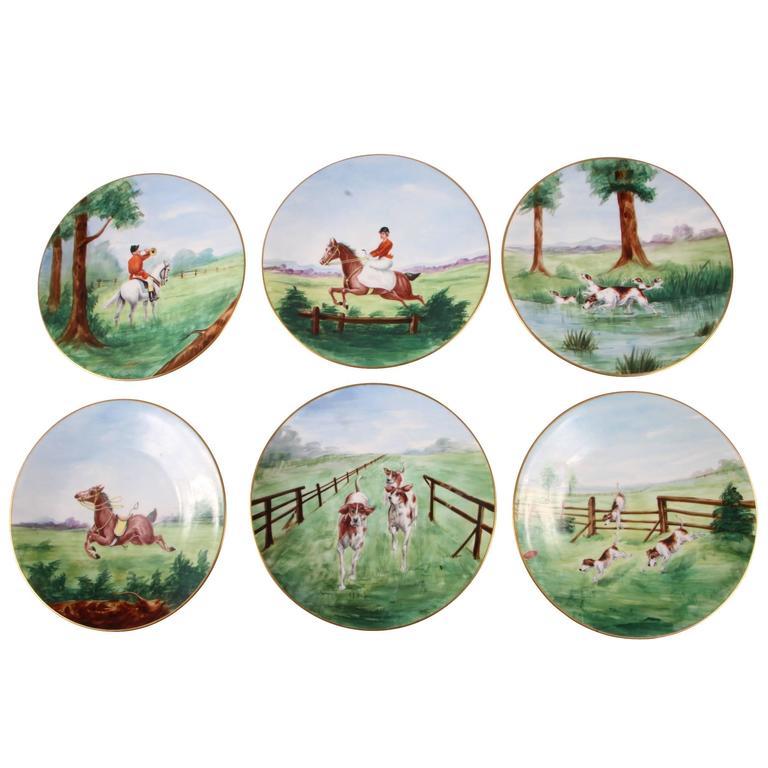 Set of Six Hand-Painted Fox Hunt Plates