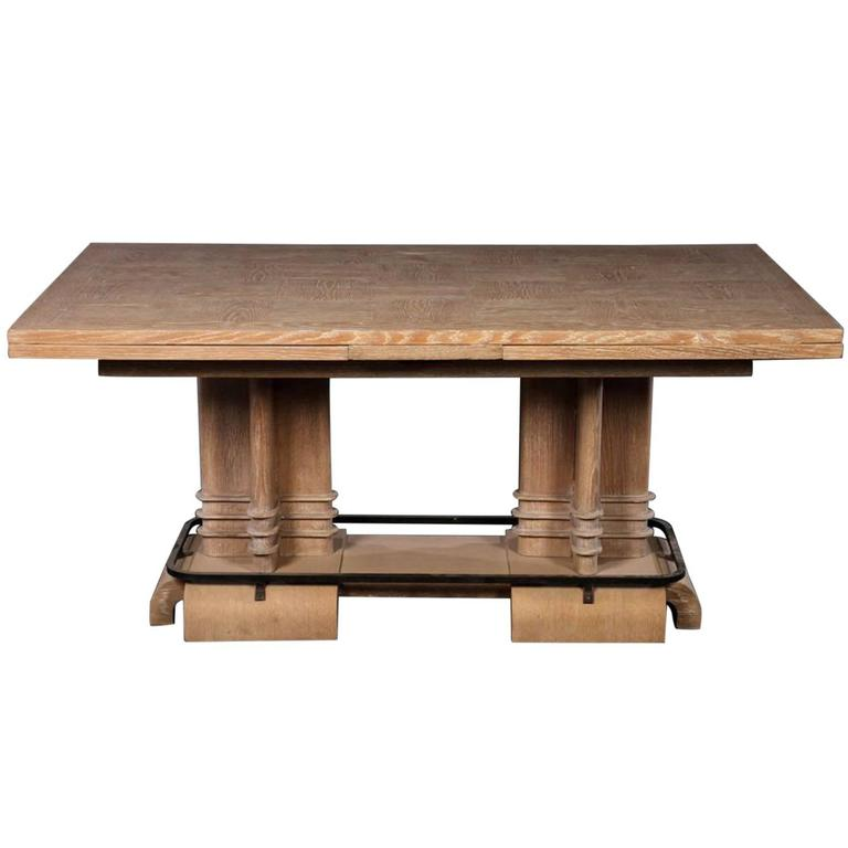 frank lloyd wright style art deco cerused oak dining table 1