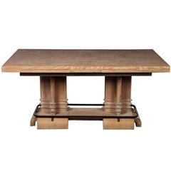 Frank Lloyd Wright Style Art Deco Cerused Oak Dining Table