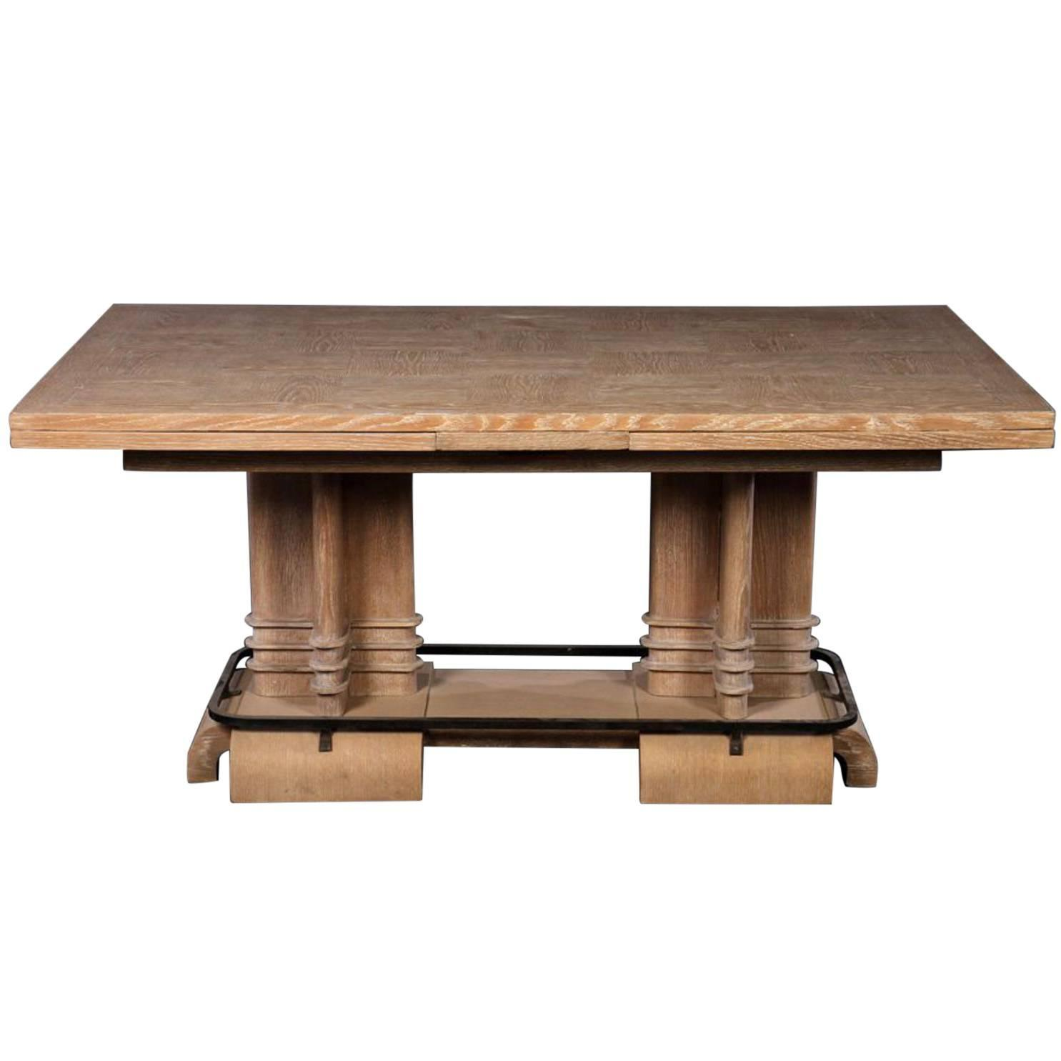 Frank Lloyd Wright Style Art Deco Cerused Oak Dining Table For Sale At  1stdibs