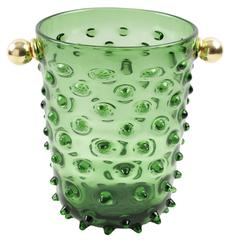 1960s Empoli, Italy Hobnail Blown Glass Champagne or Wine Cooler