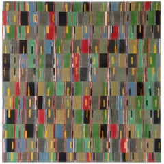 Modern Abstract Woven African Fabric Collage Painting