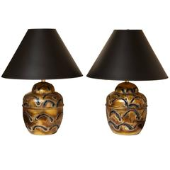 Pair of Ginger Jar Form Brutalist Welded Metal Table Lamps with Pierced Design