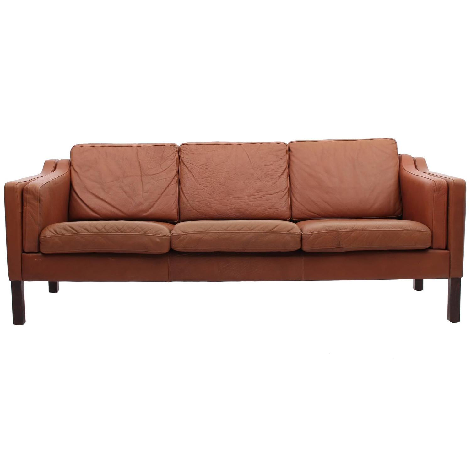 chestnut brown leather sofa danish mid century modern at 1stdibs