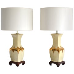 Pair of Hollywood Regency Ceramic Table Lamps