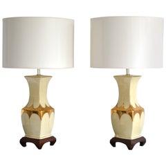 Pair of Hollywood Regency Ceramic Table Lamps