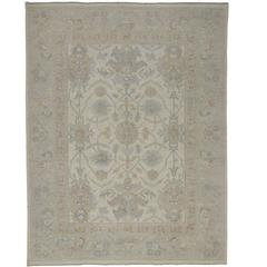 Transitional Oushak Style Area Rug in Muted Coastal Colors and Modern Design