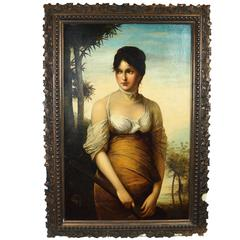 Neoclassical Oil on Canvas Painting of Standing Lady Holding Mandolin Signed