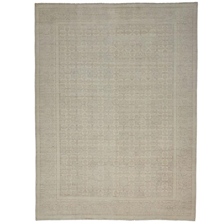New Modern Khotan Style Rug with Transitional Design in Muted Colors