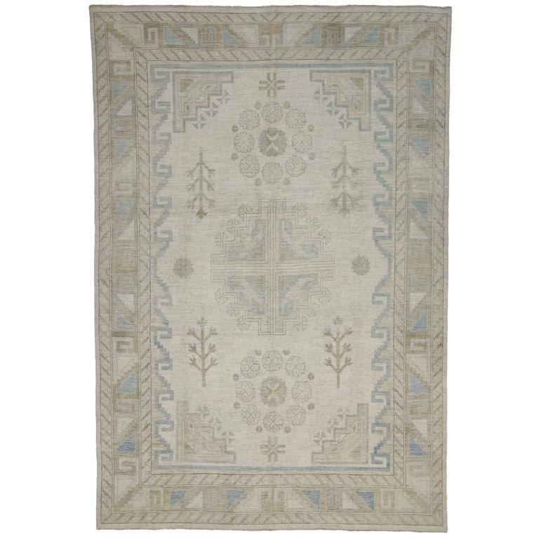 Transitional Khotan Style Rug with Modern Design in Muted Colors