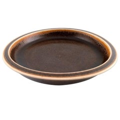 Saxbo, Large Ceramic Dish or Bowl, Beautiful Brown Glaze