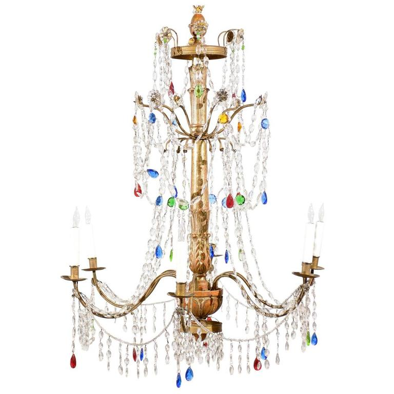 Italian Neoclassical Style Giltwood & Multicolored Crystal Six-Light Chandelier
