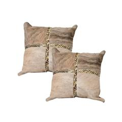 Beige Cowhide Pillows with Python Trim